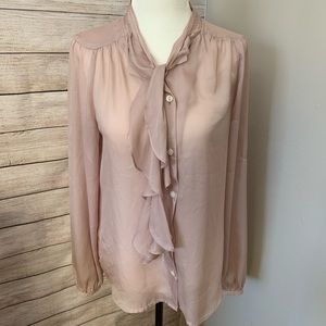 LOFT | Champagne Blouse With Ruffle Neck Tie